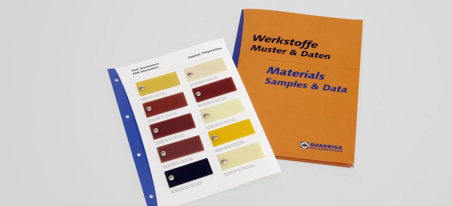 Die Werkstoff-Mustermappe von QUADRIGA mit Polyurethan-Materialproben